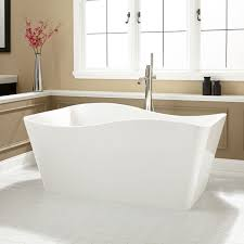 modern rectangle white free standing bathtub combined brown bathroom wall color wonderful small freestanding tub