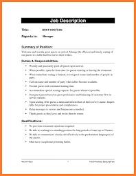 67 hostess description on resume formsresume