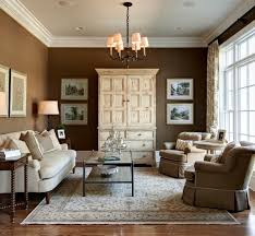 living room carpet brown light brown walls rustic cabinet