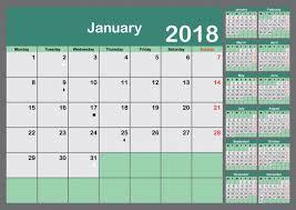 2018 Calendar Planner Week Starts Monday Vector Premium Download