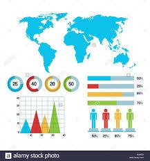 World Map Infographic Demographic Statistics Graphs Bars