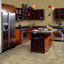 Brick Kitchen Floors Kitchen Floor Ideas With Brown Thin Brick Tile And Granite