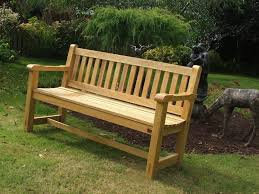 outdoor wooden bench with back