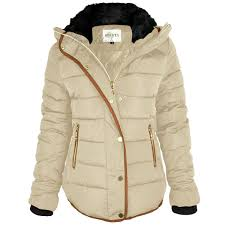 Womens Ladies Quilted Winter Coat Puffer Fur Collar Hooded Jacket ... & Womens-Ladies-Quilted-Winter-Coat-Puffer-Fur-Collar- Adamdwight.com