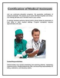 Certification Of Medical Assistants By Adam Theodore Issuu