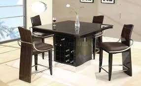 Modern Bar Table Design Wenge Zebrano High Gloss Finish Modern Bar Table W Wine Rack