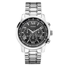 mens guess watches for ticwatches co uk designer discount store guess w0379g1 horizon black silver stainless steel mens watch