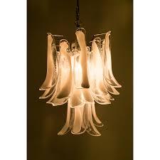 mid century modern polished chrome and murano glass petal chandelier mazzega
