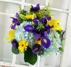 Royal Blue And Yellow Wedding Flowers Summer Mixed Wedding