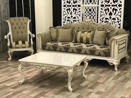 wooden modern green designer sofa set
