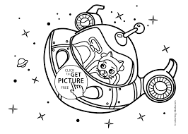 Small Picture Space craft Rocket coloring pages for kids with cat printable
