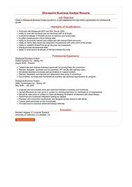 Business Resumes Sharepoint Business Analyst Resume Sample Best Format 82
