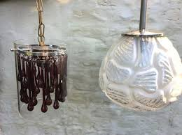 hanging lamp 2 diffe lamps from the of glass 70s vintage