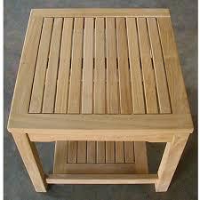 teak heavy duty side table with lower shelf 279 00