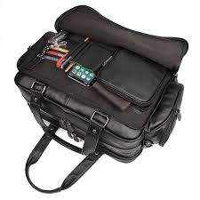 Nesitu <b>Black Large</b> Capacity Genuine <b>Leather Men Briefcase</b> ...