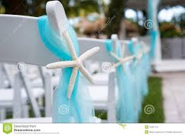 Turquoise And White Wedding Decorations Chairs At Outdoor Wedding Royalty Free Stock Photography Image