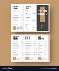 Template White Trifold Menu With A Black Cover