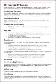 ESL teacher CV Sample