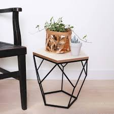 Wooden Side Table Geometric Wooden Side Table By Lisa Angel Notonthehighstreetcom