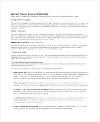 Resume Summary Statement Examples Extraordinary Example Resume Summary Statement Resume Impact Statement Examples