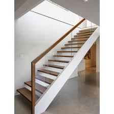 modern wood handrail glass railing wooden steps staircase