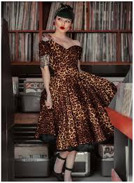 'Dee Dee' <b>Leopard Print</b> 50s <b>Style</b> Full Circle Dress - British <b>Retro</b>