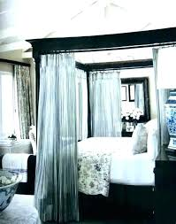 Four Poster Canopy Bed Curtains 4 Frame With Black Beds King ...