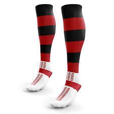 red black hooped rugby socks