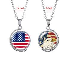 whole silver tone american flag totem pendant necklace tellurion model design glass gem eagle charm necklace for patriot gift pendants for men jewelry