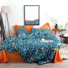 orange and blue comforter fox leaves orange blue gray bedding queen king size soft inside and duvet cover plan blue orange plaid comforter