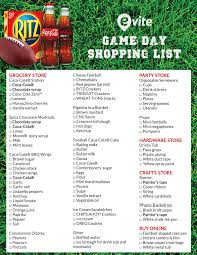 Game Day Shopping List - Evite