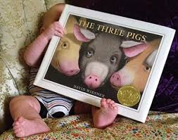wiesner s the three pigs starts off as the story you know and love three pigs building houses out of various materials with a wolf lurking nearby