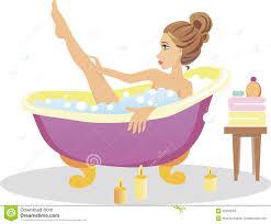 shower tub clipart. Girl Taking A BBath Shower Tub Clipart