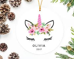 Unicorn Ornament, Christmas Ornament for Baby, Boho Flower Crown