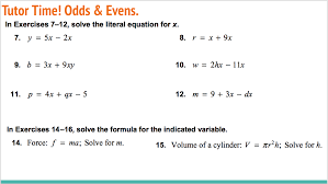 lesson solving literal equations