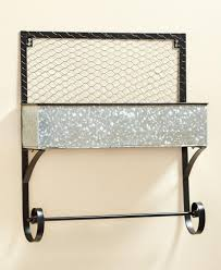 give your bathroom a rustic down on the farm look with this galvanized farmhouse bathroom wall basket features a galvanized basket with en wire along