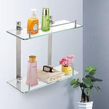 bathroom tempered glass shelf: previous middot next homeideas bathroom tempered glass shelf mm thick wall mount rectangular brushed nickel bracket hotel style