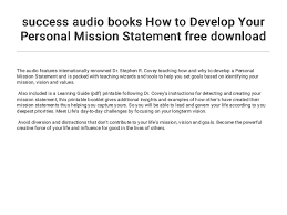 Personal Value Statement Examples Mesmerizing Success Audio Books How To Develop Your Personal Mission Statement Fr