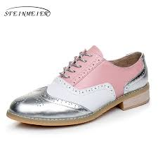 2019 <b>women oxford shoes genuine leather</b> flats brown handmade ...