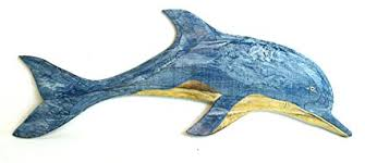 hand carved blue white wash wood dolphin wall art hanging tropical nautical decor on wooden dolphin wall art with amazon hand carved blue white wash wood dolphin wall art