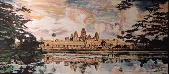 angkor wat temple oil painting