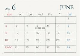 無料イラスト 2019年6月カレンダー
