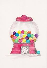 Bubble Vending Machine Impressive Gumball Machine Watercolor Print Bubble Gum Vending Machine Etsy