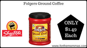 Use the folgers coffee coupon and pick up a nice deal on folgers coffee this week with the bogo sale. Shoprite Folgers Ground Coffee Only 1 49 Each Thru 1 18