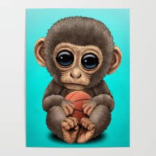 Cute Baby Monkey Playing With Basketball Poster By Jeffbartels