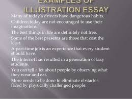 examples of illustration essay