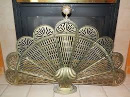 vintage art deco brass fan style fireplace screen w sea s 26 x 38