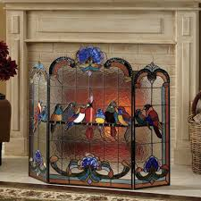 birds on a wire stained glass fireplace screen from seventh avenue window art birds on a wire stained glass