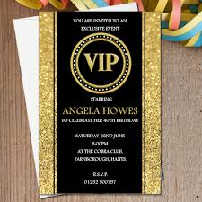 10 personalised black gold vip birthday party invitations n190 any age 18th 21st 30th 40th 50th 60th