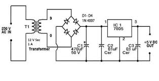 in a simple v linear regulated power supply how do you this is the circuit diagram of 5 v regulated power supply we have used a 12 v step down transformer q1 how is the value of the capacitor i e 470 acircmicrof
